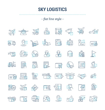 Vector graphic set. Icons in flat, contour, thin and linear design.Air Logistics. Sending freight by air way.Simple icon on white background.Concept illustration for Web site, app.Sign,symbol,emblem. Illustration