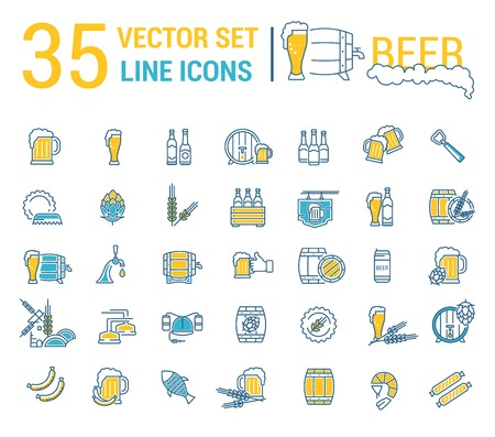 barell: Cool Vector set on the subject of beer and brewing in a linear design