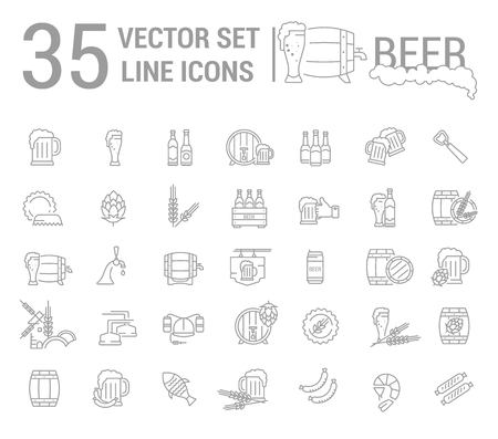 guinness: Plain Vector set on the subject of beer and brewing in a linear design. The elements of brewing, the image of glasses and barrels of beer.