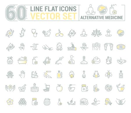 Graphic set.Icons in flat, contour,thin and linear design.Alternative medicine. Natural beauty.Simple isolated icon on white background.Concept illustration for Web site app.Sign,symbol,emblem. Vectores