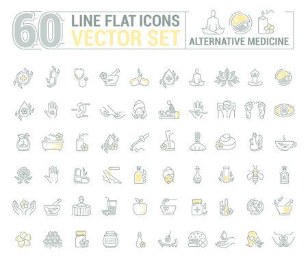 Set graphique.Icons en design plat, contour, mince et linéaire.Médecine alternative. Beauté naturelle. Simple icône isolé sur fond blanc. Illustration de concept pour l'application de site Web. Signer, symbole, emblème.