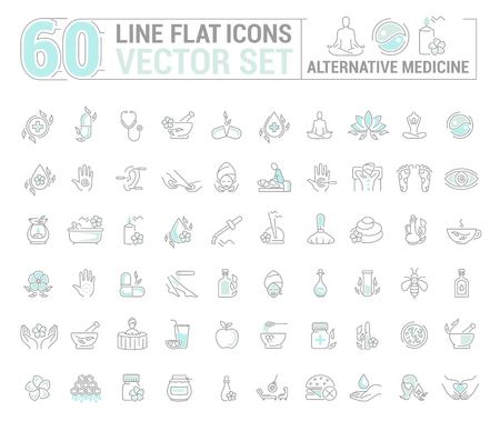 Flat contour,thin and linear design.Alternative medicine. Natural beauty.Simple isolated icon on white background.Concept illustration for Web site app.Sign,symbol,emblem.