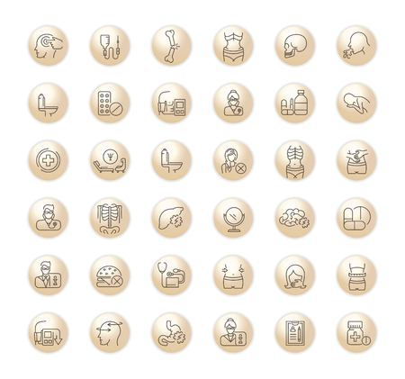 Brown Icons in flat, contour,thin, minimal and linear design. Psychological disease.Vomiting, weight loss. Symptoms, disorder. Concept simple isolated icons.Sign,symbol,element. Illustration