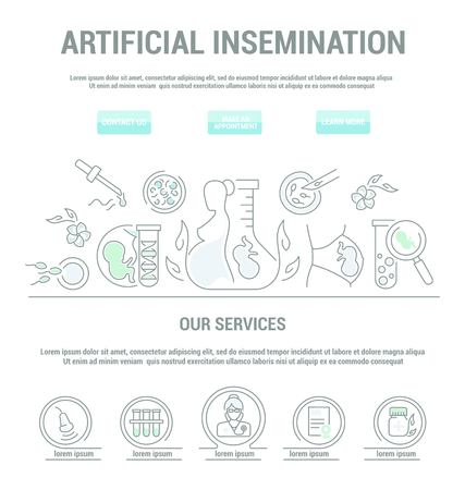 Cute linear design Artificial insemination. Landing Page.Simple isolated icon.Concept illustration for Web site app.Sign,symbol,emblem. Illustration