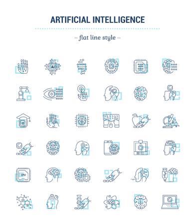 Cerebro cibernético. Ilustración del concepto para el sitio web, aplicación. Firmar, símbolo, elemento.