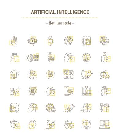 Artificial Intelligence. Modern technology. Cyber brain.Concept illustration for Web site, app.Sign,symbol,element.