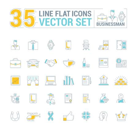 Graphic set. Icons in flat, contour, thin and linear design.Businessman and his stuff.Simple icon on white background.Concept illustration for Web site, app.Sign, symbol, emblem. Illustration