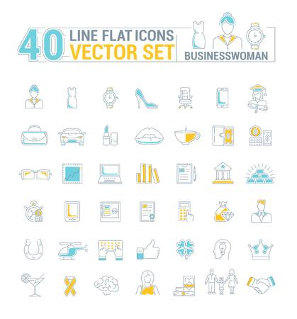 A Vector graphic set. Icons in flat, contour, thin and linear design.Business woman.Simple isolated icon on white background.