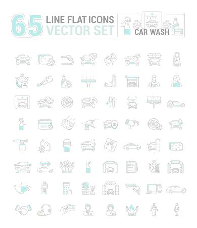 Vector graphic set. Icons in flat, contour, thin and linear design.Car wash. Gear and equipment for washing.Simple icon on white background.Concept illustration for Web site, app.Sign, symbol, emblem. Stock Vector - 75534138