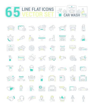 Conjunto de gráficos. Iconos en plano, contorno, diseño delgado y lineal. Lavado de autos. Equipo y engranaje para lavar. Icono simple en el fondo blanco. Ilustración del concepto para el sitio web, aplicación. Firmar, símbolo, emblema.