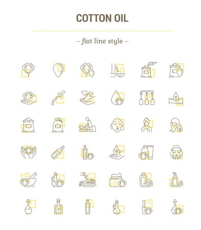 Vector graphic set. Icons in flat, contour, thin, minimal and linear design.Cottonseed oil.Herbal products of cosmetic and food industries.Simple isolated icons.Concept for Web site.Sign, symbol. Ilustração Vetorial