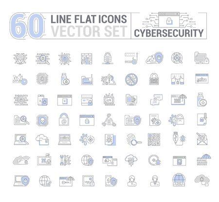 Pictogrammen in plat, contour, dun, minimaal en lineair ontwerp. Cyberbeveiliging. Bescherming van virtuele elektronische gegevens, bewerkingen. Conceptillustratie voor website. Teken, symbool.