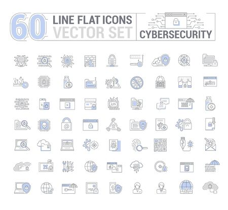 Icons in flat, contour, thin, minimal and linear design. Cyber security. Protection of virtual electronic data, operations.Concept illustration for Web site.Sign, symbol.