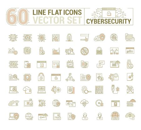 A graphic Cyber security. Protection of virtual electronic data, operations.Concept illustration for Web site.Sign, symbol. Vettoriali