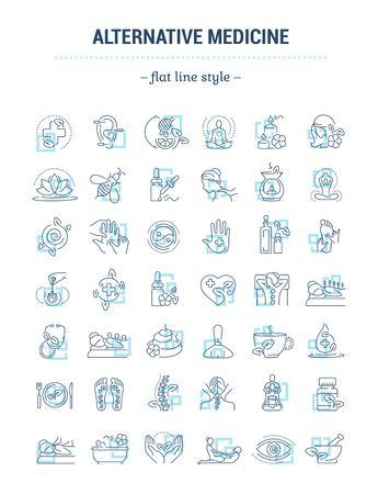Jeu de graphiques vectoriels. Taille de trait de contour modifiable. Icônes au design plat, contour, mince et linéaire. Médecine douce. Icônes isolées simples. Illustration de la notion. Signe, symbole, élément. Vecteurs