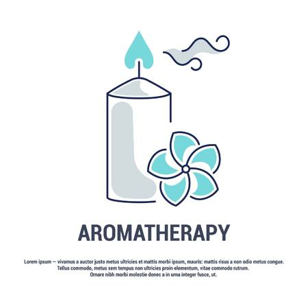 Vector graphic set. Isolated Icons in flat, contour, thin, minimal and linear design. Aroma therapy. Accessory for aromatherapy. Concept simple illustration for Web site. Sign, symbol, element. Ilustração