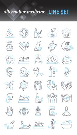Vector graphic set. Editable outline stroke size. Icons in flat, contour, thin and linear design. Alternative medicine. Simple isolated icons. Concept illustration. Sign, symbol, element.
