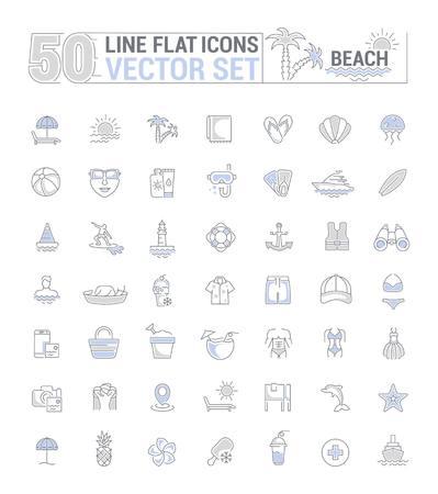 Jeu de graphiques vectoriels. Icônes au design plat, contour, mince, minimal et linéaire. Saison de plage. Thème de la plage. Icônes isolées simples. Concept de site Web et d'application. Signe, symbole, élément.