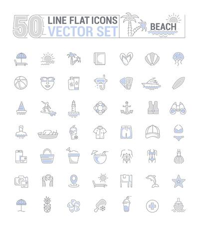 Vector graphic set. Icons in flat, contour, thin, minimal and linear design. Beach season. Beach theme. Simple isolated icons. Concept of web site and app. Sign, symbol, element.