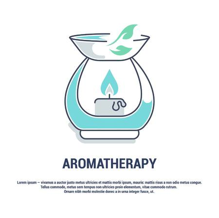 Vector graphic set. Isolated Icons in flat, contour, thin, minimal and linear design. Aroma therapy. Accessory for aromatherapy. Concept simple illustration for Web site. Sign, symbol, element.