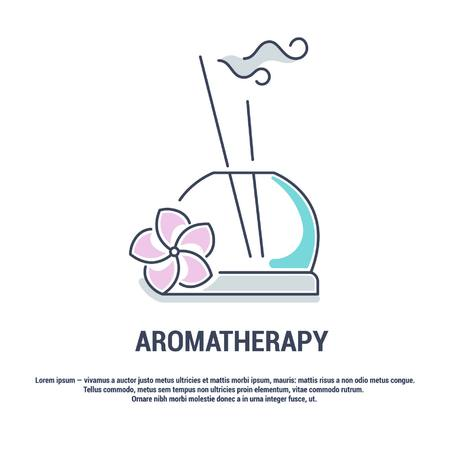 Vector graphic set. Isolated Icons in flat, contour, thin, minimal and linear design. Aroma therapy. Accessory for aromatherapy. Concept simple illustration for Web site. Sign, symbol, element. Illustration