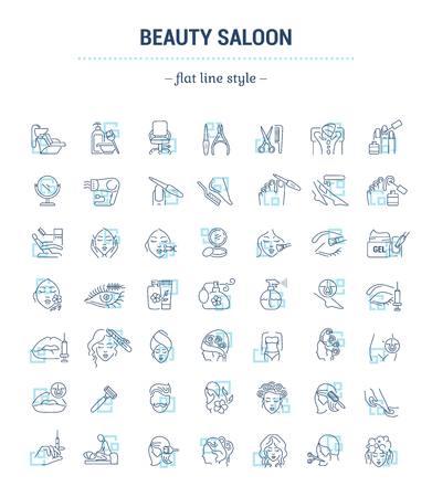 Conjunto de gráficos vectoriales. Iconos aislados en diseño plano, contorno, delgado, mínimo y lineal. Salón de belleza. Cuidado del cabello, la cara y el cuerpo. Tratamientos de belleza Ilustración del concepto para el sitio web Signo, símbolo, elemento.