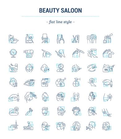 Vector graphic set.Isolated Icons in flat, contour, thin, minimal and linear design.Beauty saloon.Care of hair, face and body. Beauty treatments.Concept illustration for Web site.Sign,symbol, element.