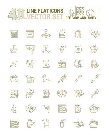 Jeu de graphiques vectoriels. Icônes au design plat, contour, mince, minimal et linéaire. Ferme d'abeilles. Apiculture, équipement, outil, instrument de travail. Illustration conceptuelle pour site Web, application. Signe, symbole, élément.