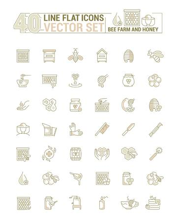 Vector graphic set. Icons in flat, contour, thin, minimal and linear design. Bee farm. Beekeeping, equipment, tool, instrument for work. Concept illustration for Web site, app. Sign, symbol, element.