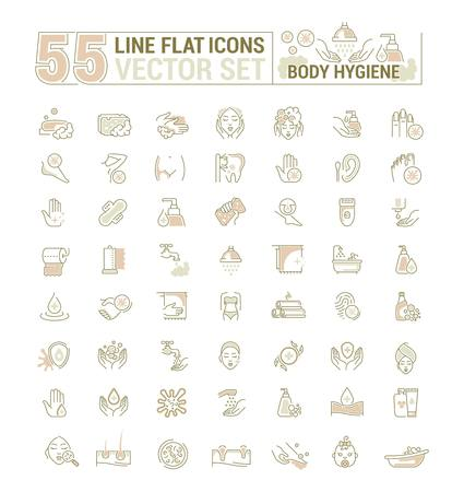 Vector graphic set. Icons in flat, contour,thin, minimal and linear design. Care of body. Hygiene product. Body wash, epilation, peeling. Simple isolated icons. Concept sign, symbol, element. Vectores