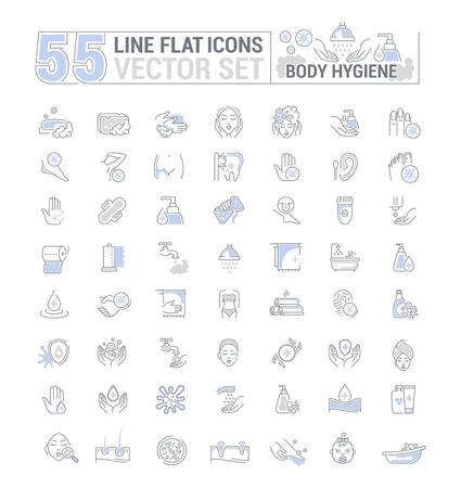 Vector graphic set. Icons in flat, contour,thin, minimal and linear design. Care of body. Hygiene product. Body wash, epilation, peeling. Simple isolated icons. Concept sign, symbol, element.