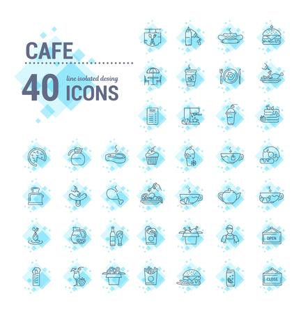 Vector graphic set. Icons in flat, contour, thin, minimal and linear design. Cafe. Food silhouettes. Fast food. Pizzeria. Catering. Simple isolated icons. Concept for web site, app. Sign and symbol.