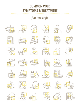 Vector graphic set. Icons in flat, contour, outline thin and linear design. Common cold. Symptoms, treatment, prevention. Simple isolated icons. Concept illustration Web site. Sign, symbol, element. Illustration