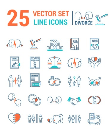 Vector set of icons in a linear design on the subject of divorce and the legal process. The set of elements on the subject of property division, child custody, alimony, infidelity, lawsuits and divorc  イラスト・ベクター素材
