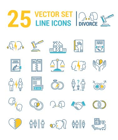 Vektorset von Icons in einem linearen Design zum Thema Scheidung und Rechtsverfahren. Das Set von Elementen zum Thema Vermögensaufteilung, Sorgerecht, Unterhalt, Untreue, Klagen und Scheidung. Vorlage für Ihre Website oder Werbung.