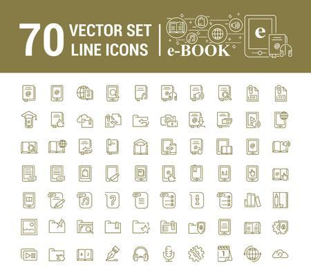 Vector graphic set.Logo, icon. E-book, pocket book. Linear, flat, contour, thin design. App, Template, infographic. Symbol, element, emblem, smart technologies. Modern gadget online library education. Stock Illustratie