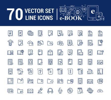 Vector graphic set.Logo, icon. E-book, pocket book. Linear, flat, contour, thin design. App, Template, infographic. Symbol, element, emblem, smart technologies. Modern gadget online library education.