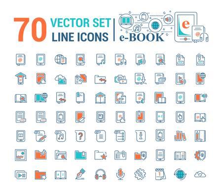Conjunto de gráficos vectoriales Logotipo, icono. Libro electrónico, libro de bolsillo. Diseño lineal, plano, de contorno, fino. Aplicación, plantilla, infografía. Símbolo, elemento, emblema, tecnologías inteligentes. Educación de biblioteca en línea de gadget moderno.