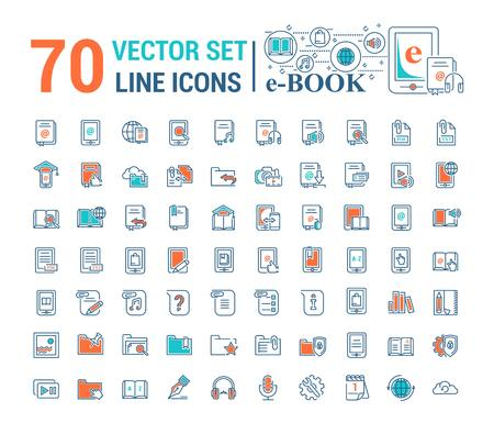 Vektorgrafik-Set.Logo, Symbol. E-Book, Taschenbuch. Lineares, flaches, konturiertes, dünnes Design. App, Vorlage, Infografik. Symbol, Element, Emblem, intelligente Technologien. Moderne Gadget-Online-Bibliotheksausbildung.