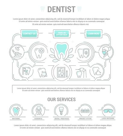 Vector graphic set. Simple isolated Icons in flat, contour, outline, thin and linear design.Dental care and dentist.Dental disease and treatment. Prosthetics, removal. Element, emblem, symbol.