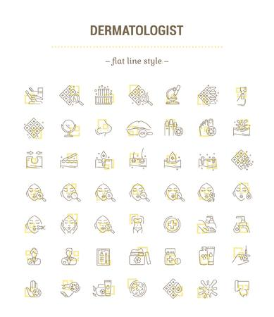 Vector graphic set. Icons in flat, contour, thin, minimal and linear design.Dermatologist.Problem, analysis, treatment.Skin of face, head, hand and body.Concept illustration for Web site.Sign, symbol. Illustration