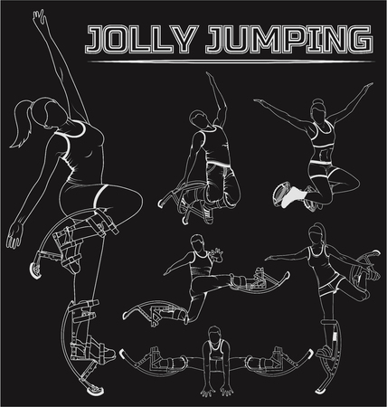 Set of silhouettes of people and equipment to Jolly jumpers, bocking.