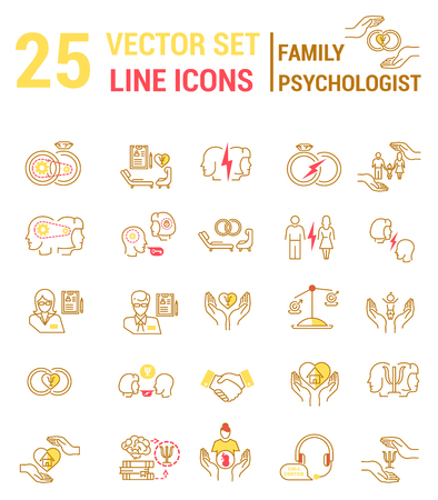 Set of icons in linear style on the subject of family psychological process. Illustration