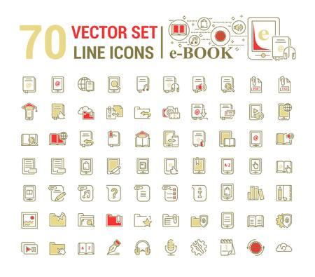 Vector graphic set.Logo, icon. E-book, pocket book. Linear, flat, contour, thin design. App, Template, infographic. Symbol, element, emblem, smart technologies. Modern gadget online library education. Illustration