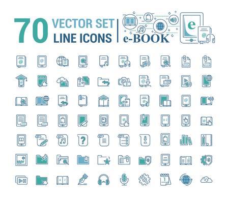 Vector graphic set.Logo, icon. E-book, pocket book. Linear, flat, contour, thin design. App, Template, infographic. Symbol, element, emblem, smart technologies. Modern gadget online library education. Illusztráció
