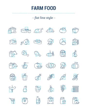 Vector graphic set. Icons in flat, contour, thin, minimal and linear design.Farmer fresh product. Animal and plant food.Healthy nutrition. Natural food.Concept simple isolated icons.Sign, symbol. Ilustrace