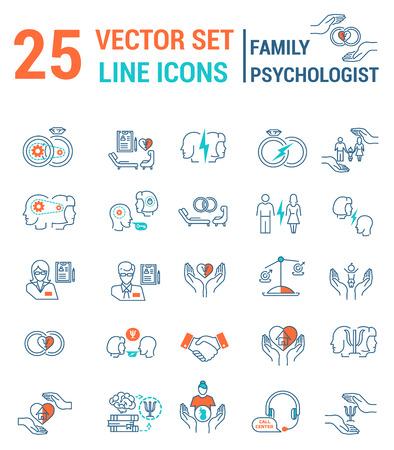 Zestaw ikon w stylu liniowym na temat rodzinnego procesu psychologicznego.