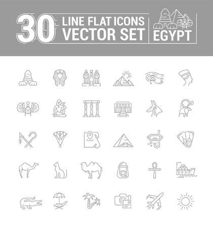 Vector graphics set. Linear, contour, thin, flat, design. Concept silhouette, Egypt. Travel to Egypt. Element, emblem, symbol, icon, sign, for web site, app, business.
