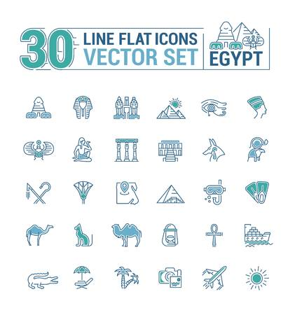 Vector graphics set. Linear, contour, thin, flat, design. Concept silhouette, Egypt. Travel to Egypt. Element, emblem, symbol, icon, sign, for web site, app, business.