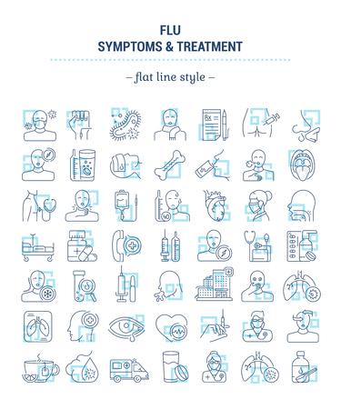 벡터 그래픽 세트입니다. 평면, 윤곽선의 아이콘은 얇고 선형 디자인입니다. 독감. 증상, 치료, 예방. 간단한 고립 된 아이콘입니다. 웹 사이트에 대한 개념 그림입니다. 기호, 상징, 요소입니다.